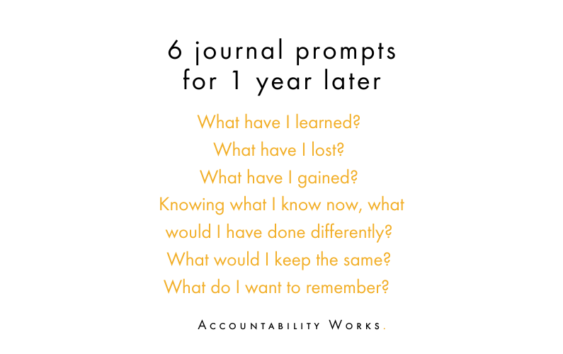 journal prompts for 1 year later